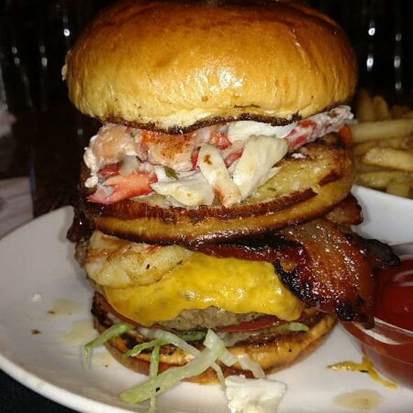 The Prime Surf And Turf Bacon Cheeseburger With Extra Jumbo Shrimp Jumbo Lump Crabmeat Colossal King Crab Meat And Lobster Meat