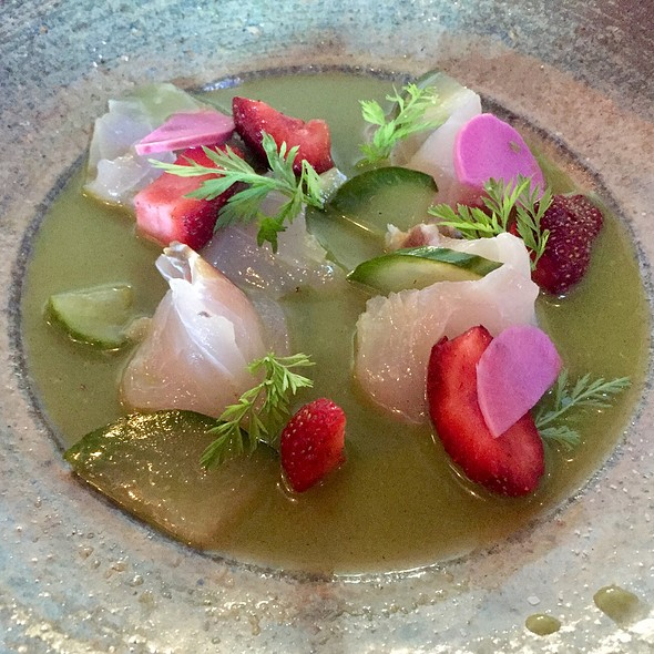 Barrelfish Ceviche With Strawberry And Pickled Cucumber