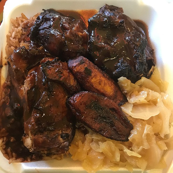 Jerk Chicken, Rice And Peas, Cabbage, And Plantains
