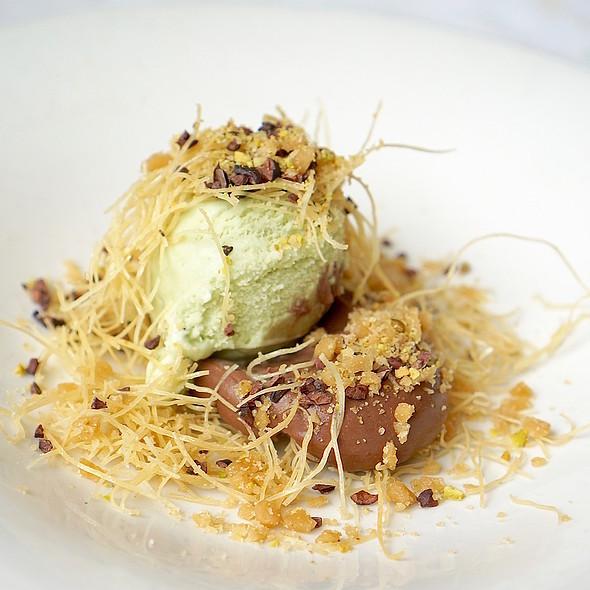 Chocolate pudding, pistachio, cocoa nib, mint ice cream