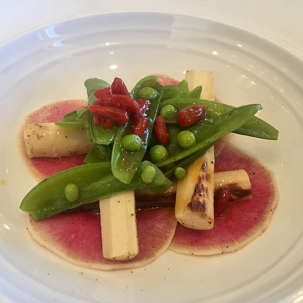 Grilled Hearts Of Palm With Snap Peas, Watermelon Radish, And Goji Berry And Passion Fruit Marmalade