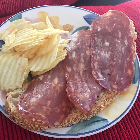 Salami And Cheese Open Sandwich @ Chookys