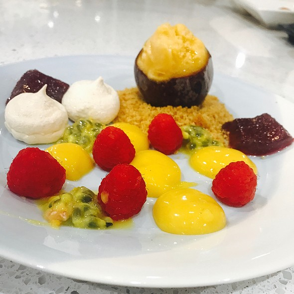 Passionfruit Sorbet, Meringue, Passionfruit Curd, Anzac Biscuit Crumb, Raspberry And Vanilla Jelly @ Chookys