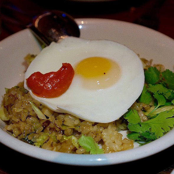 Brussels sprout fried rice, sunny side organic egg, sambal