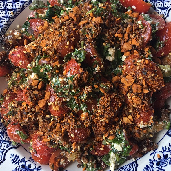 Tomato, mint and caper salad with garlic and olive toast