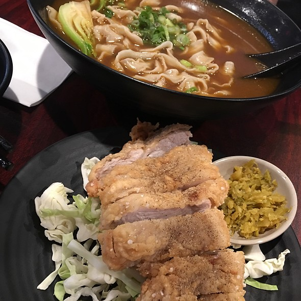 Thick Beef Noodle Soup With Deep Fried Pork Chop On The Side