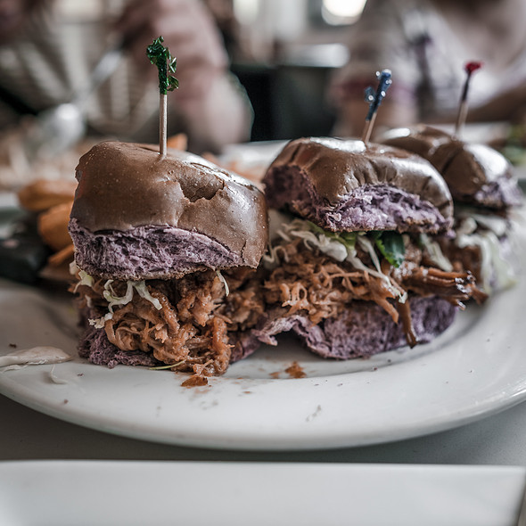 Kalua Pork Sliders With Taro Rolls