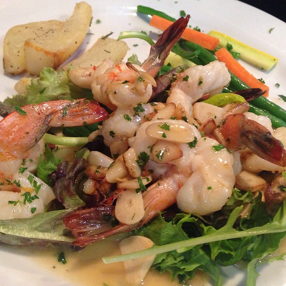 Shrimp Scampi On Greens