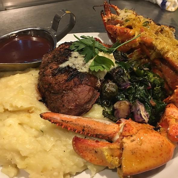 Blackened Filet Mignon & A Crabmeat Stuffed Half Lobster