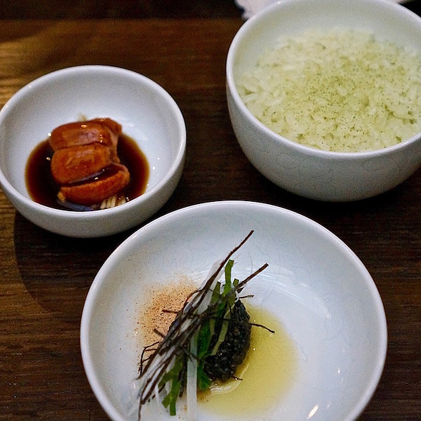 Fresh Sacramento sturgeon caviar, hand-pressed sesame oil, sea urchin marinated in fermented crab sauce