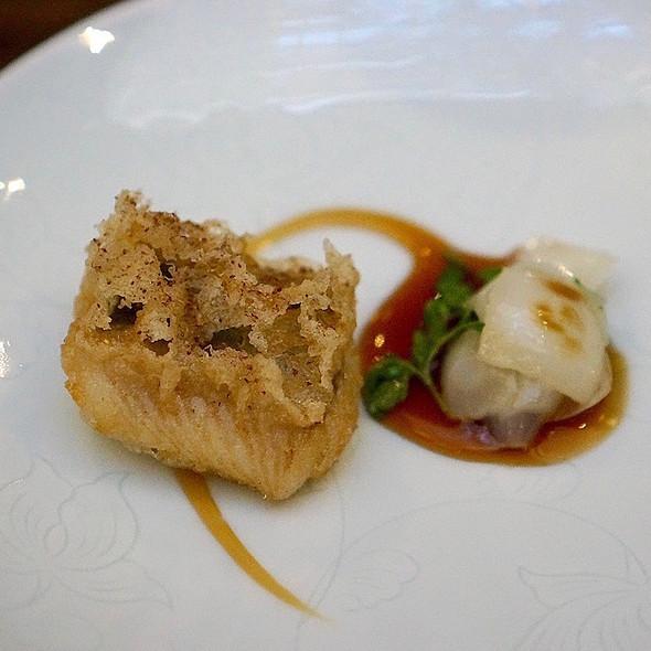 Fried river eel, lily bulb, pepper leaf, rose wine glaze