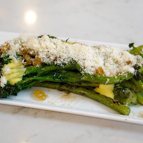 Grilled broccolini, golden raisins, parmesan, aioli, mint