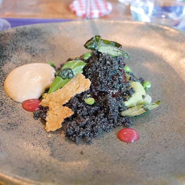 Pork Cheeks, Green Peas Puree, Smoked Carbon Coucous @ Adrian Quetglas Restaurant