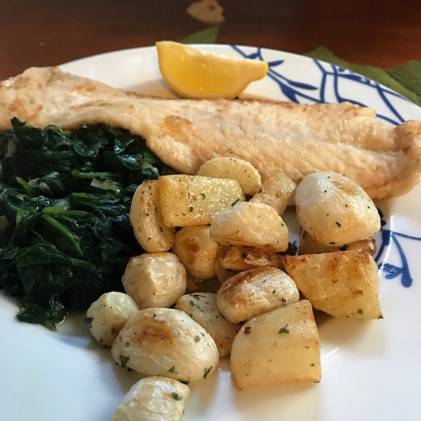 Halibut With Roasted Turnips And Spinach