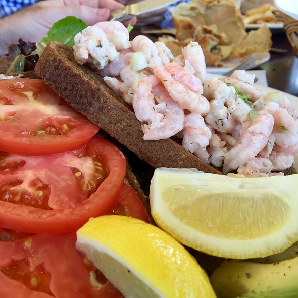 open faced shrimp salad sanwich