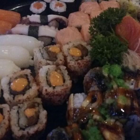 Sushi Platter - Sashimi, Nigiri Sushi and Spicy Tuna Maki Roll