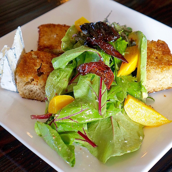 Panzanella salad, organic local greens, baby beets, oven roasted tomato, avocado, grilled crouton, Humboldt fog chevre, champagne vinaigrette