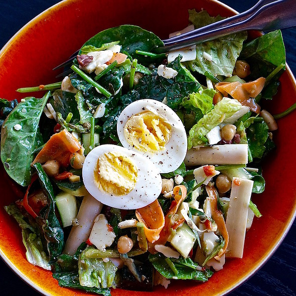 Fiambre salad - roasted red peppers, asparagus, green beans, chickpeas, cucumber, carrot, radish, egg, hearts of palm, cheddar, ginger-lime vinaigrette