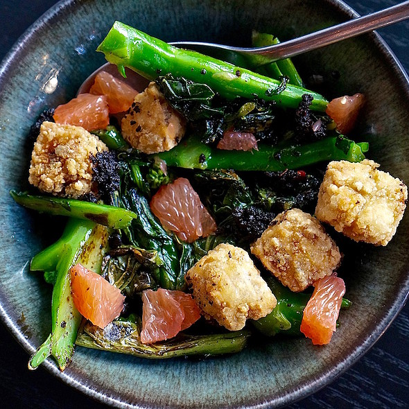 Chinese broccoli, salt and pepper tofu, fermented black beans, grapefruit