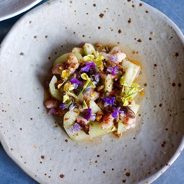 Marinated CT royal red shrimp, cucumber, pistachio, berbere