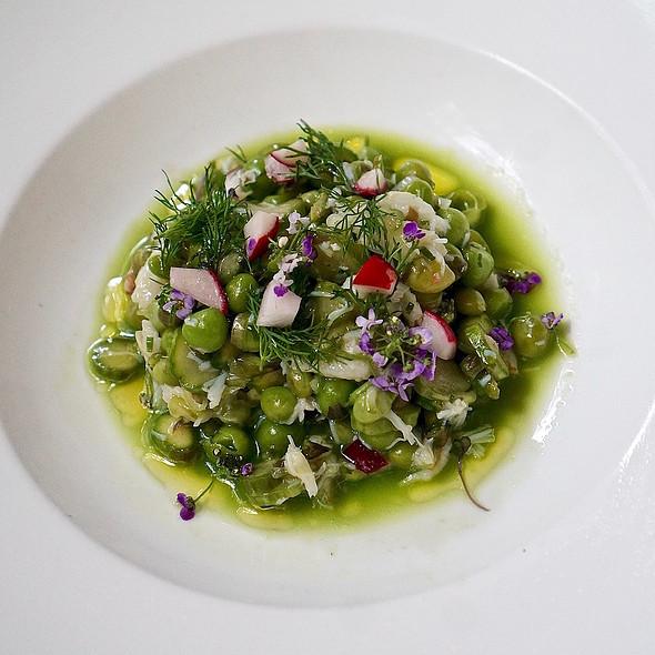 Rock crab and asparagus salad, sweet peas, wild leek, labneh, radish, dill, sea salt, olive oil