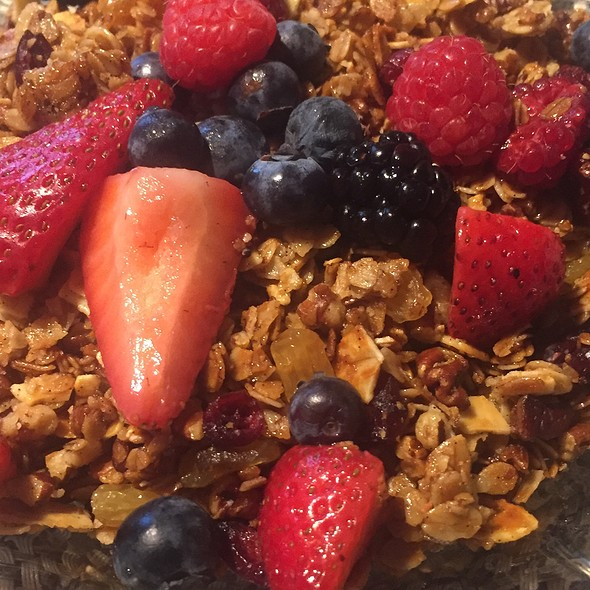 Greek Yogurt With Granola, Blueberries, Blackberries, And Strawberries