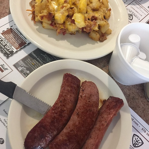 Bacon And Cheddar Home Fries & Grilled Kielbasa