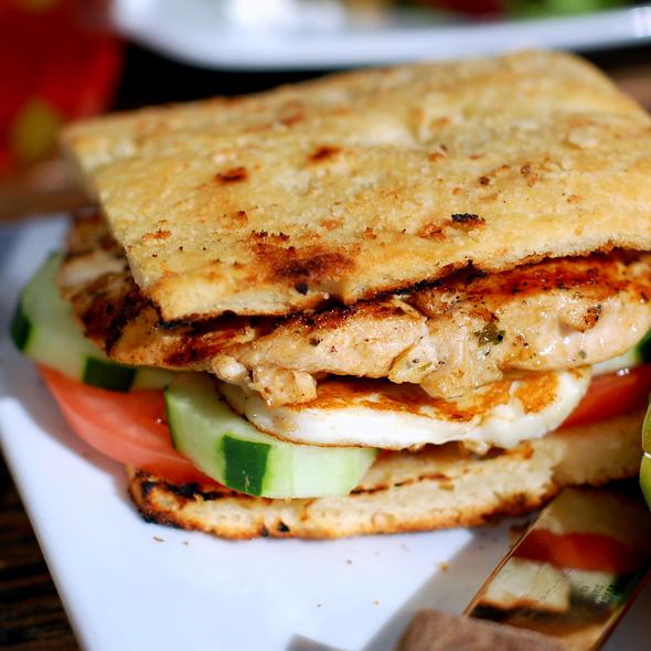 Tiropita Toast with Grilled Chicken  - Ovelia Psistaria Bar, Astoria, NY