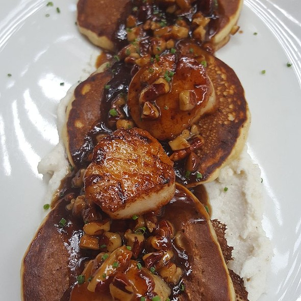 Scallops Over Bourbon Griddle Cakes