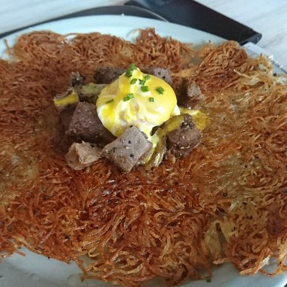 Hashbrown With Ox Tongue And Poached Egg