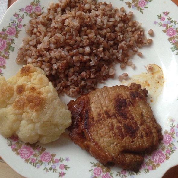Fried Pork with Boiled Buckwheat and Stewed Cauliflower
