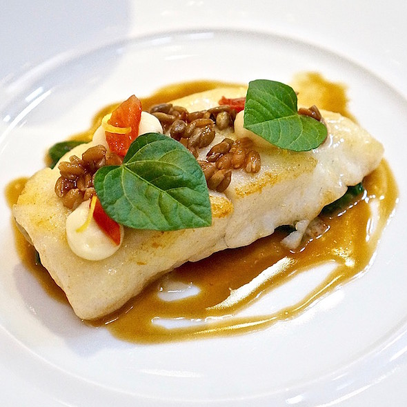Atlantic turbot 'Meuniere style', spelt, sunflower seeds, celeriac, arbois vin jaune