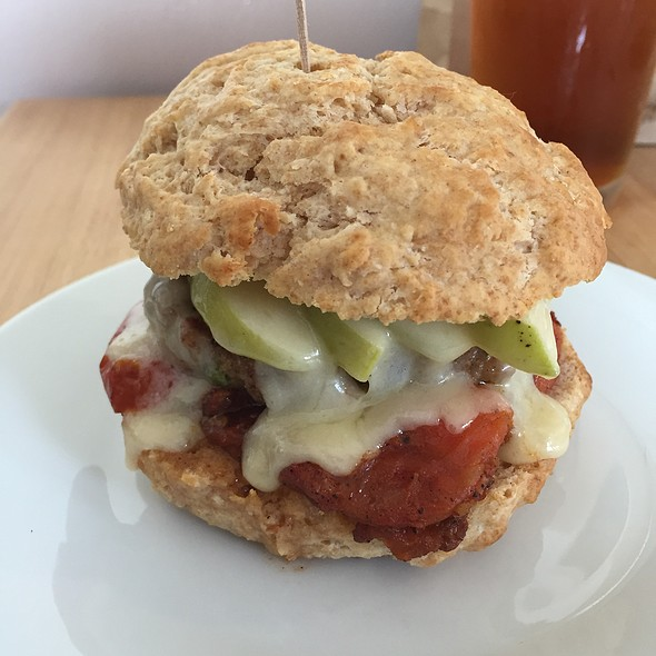 Buttermilk biscuit and sausage breakfast sandwich