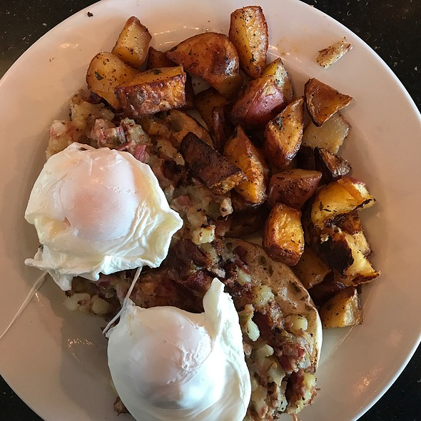 Corned Beef Hash, Poached Eggs, Homemade Corned Brisket, Potato, Smoked Onion Cream Sauce @ Roundabout Diner and Lounge