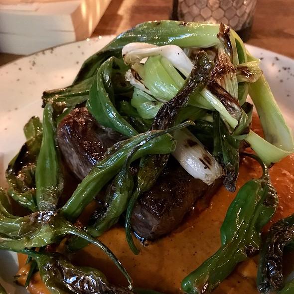 Wagyu New York Strip – Shishito Peppers, Romesco Sauce And Green Onion