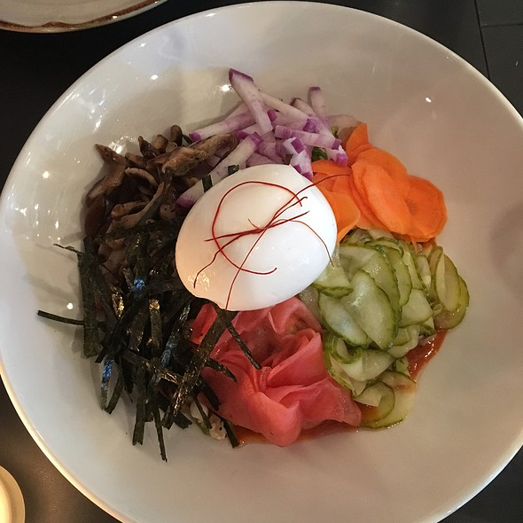 Bibim grain, job's tears, farro, zucchini, tare mushrooms, pickled vegetables, purple daikon, nori, mixed seeds, soft egg, gochujang vinaigrette