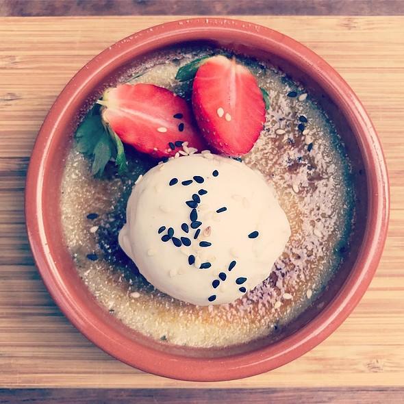 NEW DISH  black sesame crème brulée by Samson's Paddock. Yum!