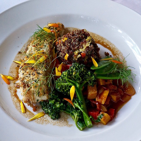 Herb crusted Pacific halibut, garden vegetable red quinoa, sweet soya emulsion
