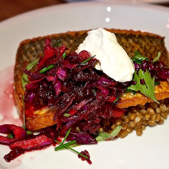 Lake Superior white fish, wheat berries, red cabbage, balsamic