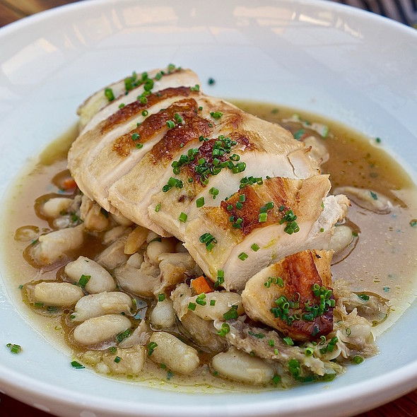 Roasted Amish chicken breast, white bean cassoulet, chicken confit