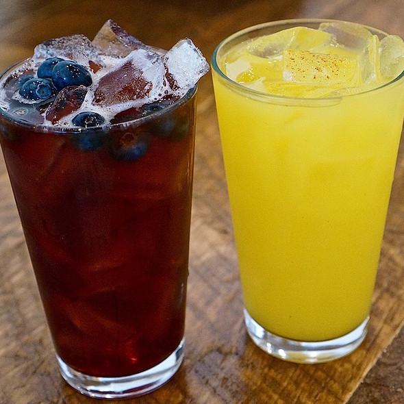 Soul Detox (blueberry rooibos, aged balsamic vinegar, blueberries, mint), Jungle Juice (mango, turmeric mango tea, kaffir lime leaf, saffron, cayenne pepper)