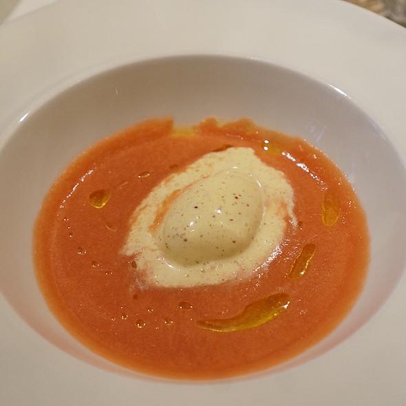 Tomato gazpacho, mustard ice cream