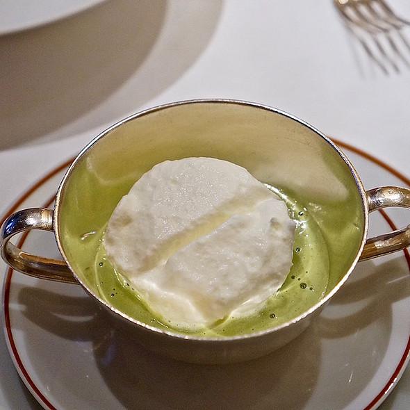Fava bean velouté, garlic Chantilly cream