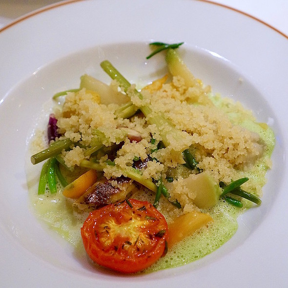 Garden vegetables, couscous, argan oil, eggplant pulp