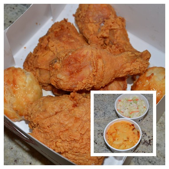 5 piece Chicken,  2 biscuits and 2 sides app special for $6.00