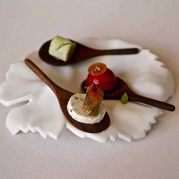 Daikon with herb emulsion, foie gras hibiscus gelée, smoked eggplant on cream cheese