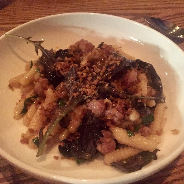 Cavatelli With Fennel And Honey Sausage, Mizuna, Blueberries, And Black Pepper Breadcrumbs