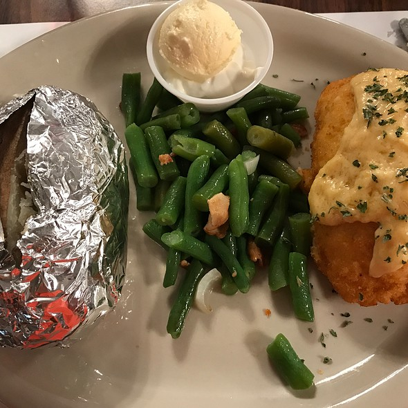 Chicken Cordon Bleu With Ham, Baked Potato And Green Beans With Ham