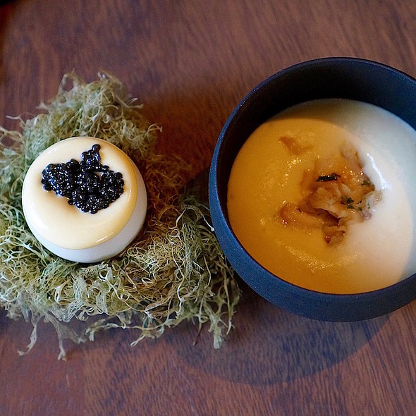 Caviar w/ spinach purée and egg custard foam; potato purée w/ carmelized onions and smoked halibut