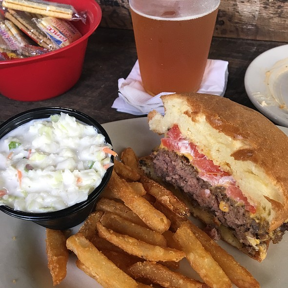 Cheeseburger with Fries and Beer @ Stumpknockers Restaurant